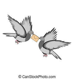 Two pigeons with a letter on a white background. Vector-art...