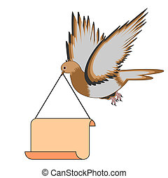 A flying pigeon with a blank paper - A flying pigeon holding...