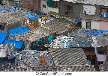 Mumbai Rooftops - Rooftops of a slum in Mumbai, India