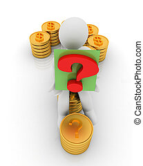Question mark in the form of gold coins with dollar sign with 3d man on a white background