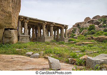 Hindu temple, Hampi, Karnataka state, India - view of an...