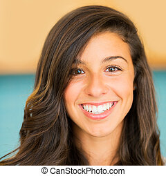 Beautiful Young Woman Smiling - Portrait of Beautiful Young...