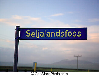 Signpost for Seljalandfoss waterfall Iceland