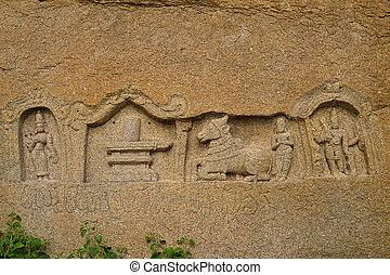 escultura, detalle, hindú, dios, diosa, Hampi,...