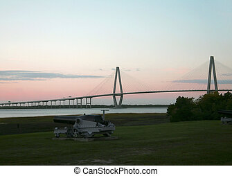 Cooper River Bridge - morning sunrise portrait of the Cooper...
