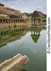 agua, piscina, templo, Krishna, Mercado, Hampi, India