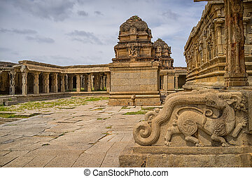 Krishna temple, Hampi, Karnataka state, India - view of an...