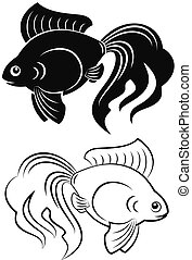 goldfish - Black and white goldfish figures grand tails...