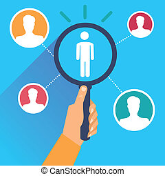 Vector human resources - hand holding magnifying glass in...