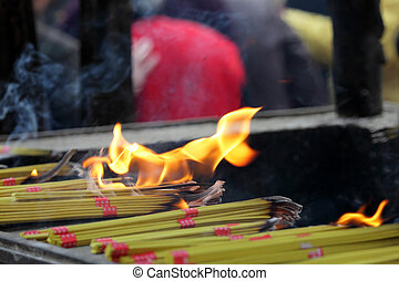Incense sticks at buddhist temple in Shanghai, China