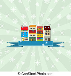 Winter holidays card with houses 3 - Winter holidays card...