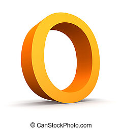 Letter O - Collection of orange letters on a white...