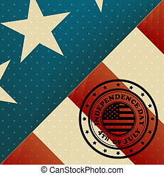 USA Flag and Independence day stamp