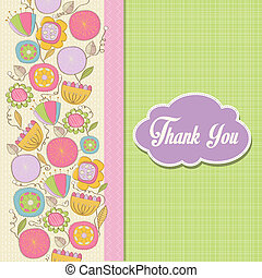 romantic Thank You card with flowers
