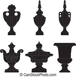 set of classic urns, planters in 6 variation