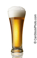 glass of beer - beer with foam, water drops on glass