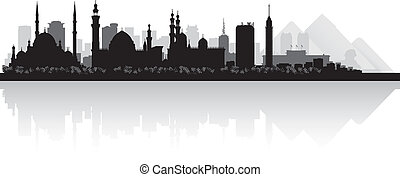 Cairo Egypt city skyline vector silhouette - Cairo Egypt...