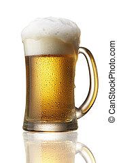 beer overflow - beer in mug with foam overflow