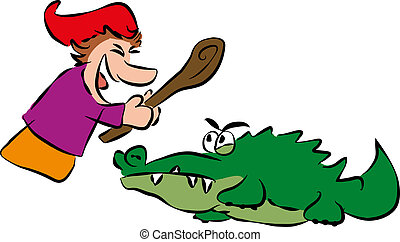 Punch and Crocodile - Punch hits crocodile with a stick....