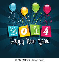 Happy New Year 2014 - Colorful 2014 new year card with...