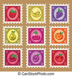 Vintage Fruit Stamps - Vintage set of colorful fruit stamps