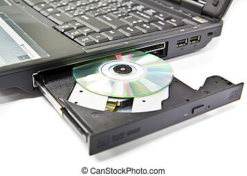 CLoseup CDROM Tray and diskette on Laptop - CLoseup CDROM...