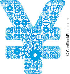 Japanese yen sign made of gears - Japanese yen or Chinese...
