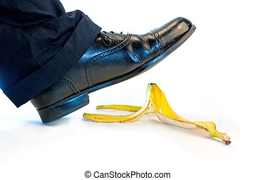 Slip - Someone about to slip and fall on a banana