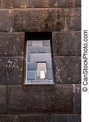 Inca Wall in ancient city of Machu Picchu, Peru, South...