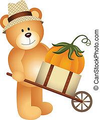 Teddy bear carrying pumpkiin - Scalable vectorial image...