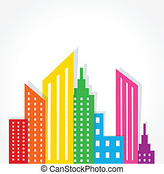 abstract colorful building design - Illustration of abstract...
