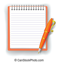 pen and notebook - colorful illustration with notebook and...