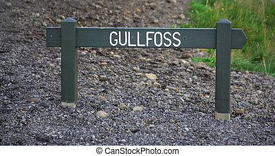 Gulfoss signpost - Wooden signpost for Gulfoss waterfall