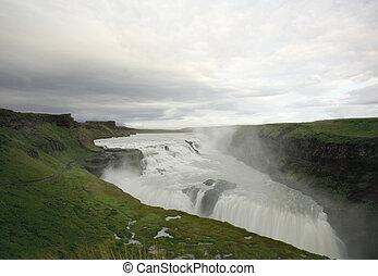 View over Gulfoss waterfall Iceland