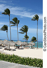 Punta Cana Beach Huts - Beach huts and palm trees on the...