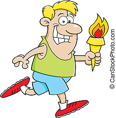 Cartoon running man with a torch - Cartoon illustration of a...