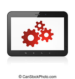 Web design concept: Gears on tablet pc computer