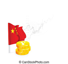 Chinese Flag with coins