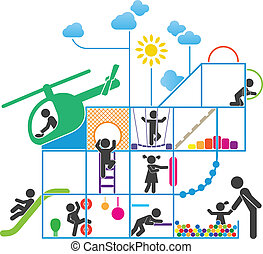Childhood pictogram illustration - Children play on...