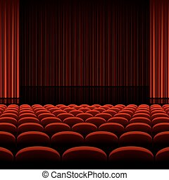 Theater auditorium with stage, red curtains and seats