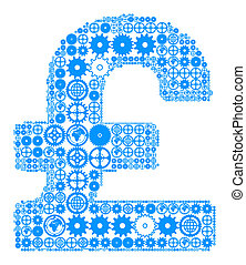 British pound sign made of gears - British pound sign on a...