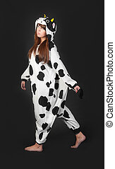 girl in a cow costume