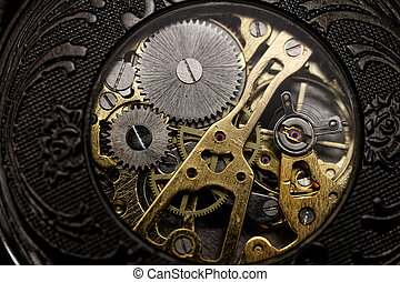 Watch gears very close up - watch mechanism very close up