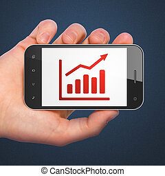 Business concept: Growth Graph on smartphone - Business...