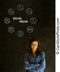 Businesswoman, student or teacher social media chalk concept...