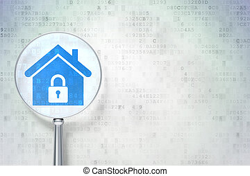 Security concept: magnifying optical glass with Home icon on digital background, empty copyspace for card, text, advertising, 3d render
