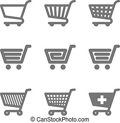 Shopping cart icons illustration