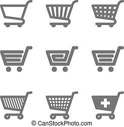 Shopping cart icons illustration