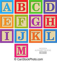 Drewniany, alfabet, kloce