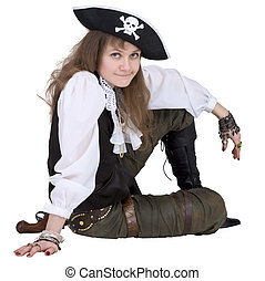 Pirate - young woman with pirate hat - The pirate - young...